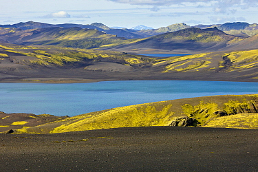 Volcanic plain and lake, Laki Craters, Iceland