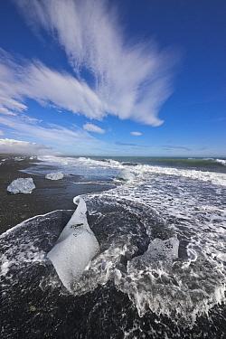 Ice chunks on beach, Jokalsarlon Lagoon, Iceland