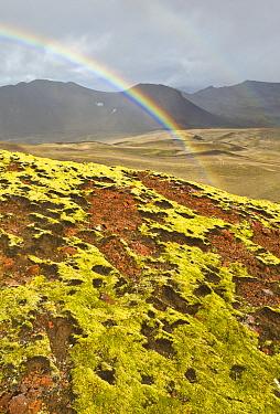 Rainbow above lava fields, Snaefellsjoekull National Park, Snaefellsnes Peninsula, Iceland