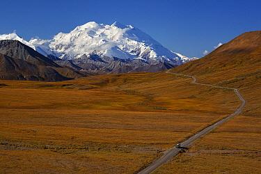 Bus driving down road towards Mount Denali, Denali National Park, Alaska