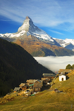 Huts and peak, Matterhorn, Findeln, Switzerland