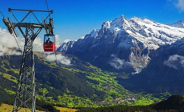Gondola on mountainside, Grindelwald, Switzerland