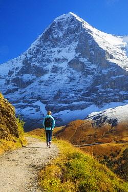 Hiker and mountain, Eiger, Switzerland