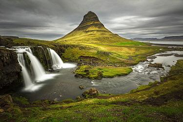 Peak and waterfall, Kirkjufellsfoss, Snaefellsnes Peninsula, Iceland
