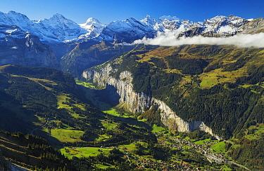 Village in mountain valley, Lauterbrunnen, Switzerland