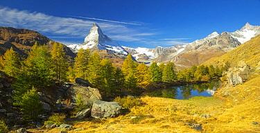 Lake and mountain, Matterhorn, Grindjisee, Zermatt, Switzerland