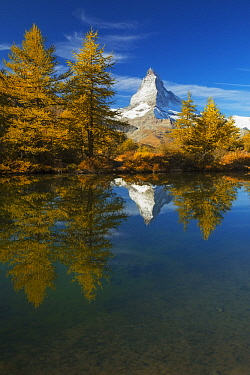 Mountain reflected in lake, Matterhorn, Grindjisee, Zermatt, Switzerland