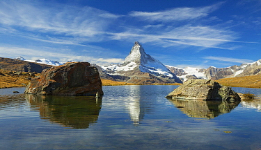 Mountain reflected in lake, Matterhorn, Stellisee, Zermatt, Switzerland