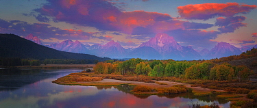 Mountains and river, Oxbow Bend, Grand Teton National Park, Wyoming