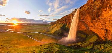 Waterfall at sunset, Seljalandsfoss Waterfall, Iceland