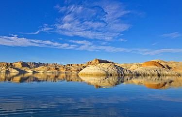 Sandstone hills along lake, Lake Powell, Glen Canyon National Recreation Area, Utah