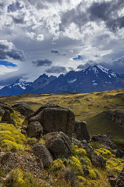 Rock formations and mountain range, Cordillera Paine, Torres del Paine National Park, Chile