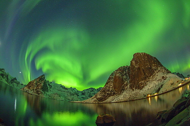 Northern lights over coastal mountains, Hamnoy, Norway