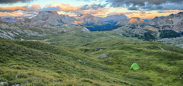Tent in meadow in mountains, Fanes-Sennes-Prags Nature Park, Italy