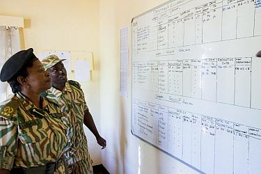 Park warden, Miriam Namushi, discussing anti-poaching strategies with her commander, Kafue National Park, Zambia