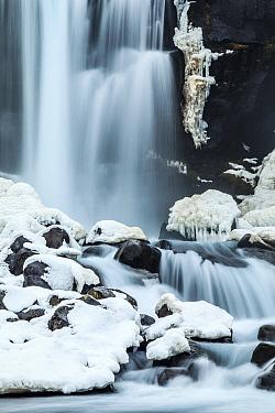 Waterfall in winter, Oxararfoss Waterfall, Thingvellir National Park, Iceland