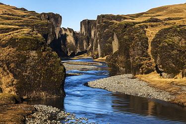 River flowing through canyon, Fjadrargljufur Canyon, Iceland