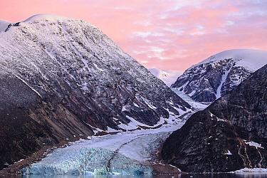Glacier and coastal mountains, Scoresby Sound, Greenland