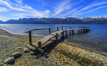 Wooden pier, Traful Lake, Bariloche, Patagonia, Argentina