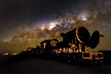 Milky way over abandoned trains, Bolivia