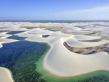 Freshwater lagoons amid sand dunes, Lencois Maranhenses National Park, Brazil