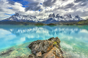 Lake and mountains, Cuernos del Paine, Torres del Paine National Park, Patagonia, Chile