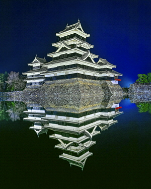 Castles at night, Matsumoto Castle, Japan