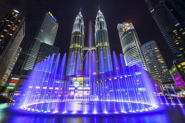 Water fountain and skyscrapers, Kuala Lumpur, Malaysia