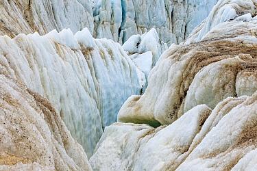 Glacial crevasse of coastal glacier, Kross Fjord, Spitsbergen, Svalbard, Norway
