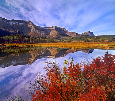 Mountains reflected in lake, Sofa Mountain, Waterton Lakes National Park, Alberta, Canada