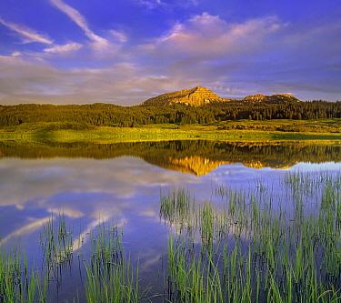 Mountains reflected in lake, Tripod Peak, Wyoming