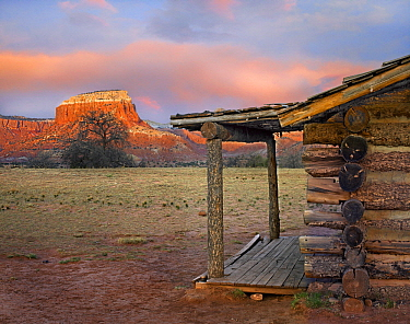 Log cabin, Kitchen Mesa, Ghost Ranch, New Mexico