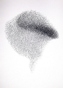 Common Starling (Sturnus vulgaris) flock flying, murmuration, Rhineland-Palatinate, Germany