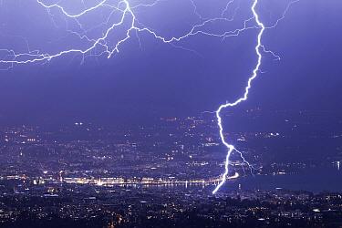 Lightning strike over city, Geneva, Switzerland