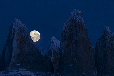 Mountains with full moon, Torres del Paine, Torres del Paine National Park, Patagonia, Chile