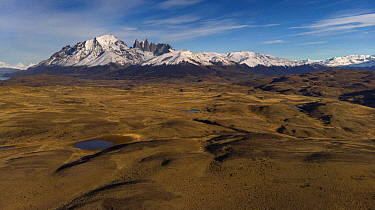 Shrubland and mountains, Torres del Paine National Park, Patagonia, Chile