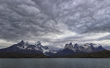 Mountain and storm clouds, Paine Massif, Torres del Paine, Torres del Paine National Park, Patagonia, Chile