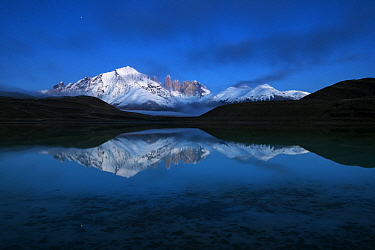 Mountains and lake, Azul Lagoon, Paine Massif, Torres del Paine, Torres del Paine National Park, Patagonia, Chile