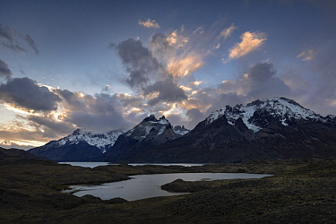 Mountains and lakes, Paine Massif, Nordenskjold Lake, Torres del Paine, Torres del Paine National Park, Patagonia, Chile