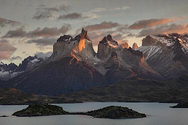 Mountains and lake, Lake Pehoe, Paine Massif, Torres del Paine, Torres del Paine National Park, Patagonia, Chile
