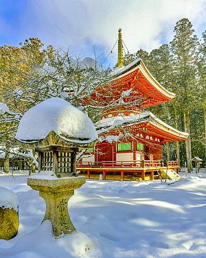 Temple in winter, Danjo Garan, Mount Koya, Japan