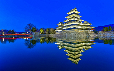 Matsumoto Castle illuminated at night, Japan