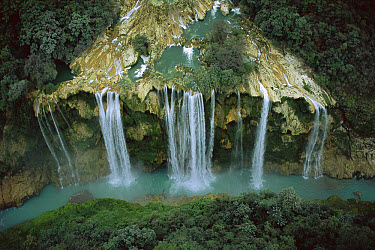 Aerial view of Tamul Waterfall (330 feet high) where Rio Gallinas cascades into the Rio Santa Maria river in the Huasteca Potosina region, Mexico  -  Patricio Robles Gil/ Sierra Madr