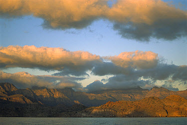 Cumulus clouds over the eastern coast of Baja California at sunset, Mexico  -  Patricio Robles Gil/ Sierra Madr