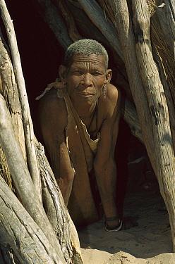 San man peering out from shelter, Kalahari Desert, Africa  -  Patricio Robles Gil/ Sierra Madr