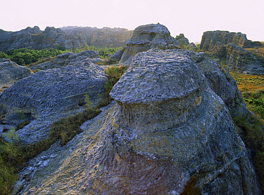 Rock formation from Jurassic period, stones known as ruiniforms sculpted by wind and water, Isalo National Park (81 540 hectares) established in 1962, South West Madagascar  -  Patricio Robles Gil/ Sierra Madr