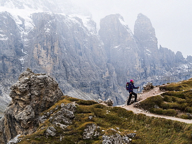 Hiker, Dolomites, South Tyrol, Italy