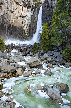 Waterfall in winter, Lower Yosemite Falls, Yosemite National Park, California