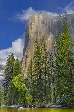 Granite cliff in mist, El Capitan, Yosemite National Park, California