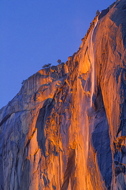 Waterfall in winter, Horsetail Fall, Yosemite National Park, California